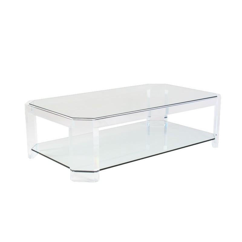 Table basse transparente athena ii for Table de nuit transparente