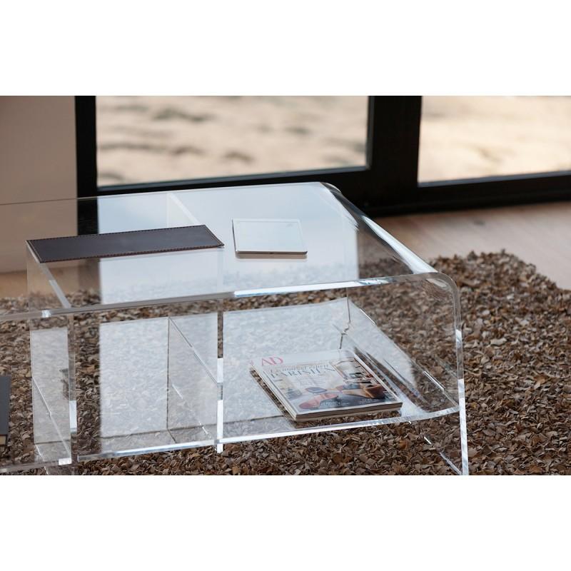 Table basse transparente design pour le salon mobilier for Table de nuit transparente