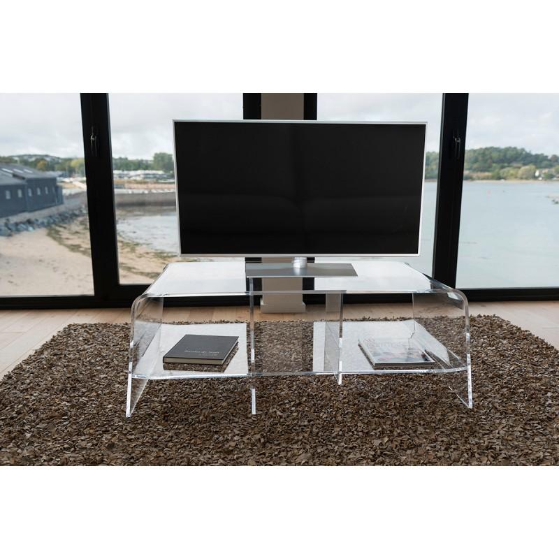 Meuble tv bas pour cran plat et multim dia plexi for Meuble tv multimedia