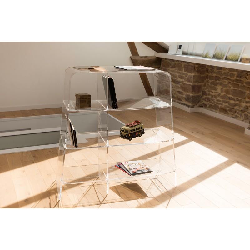 Etag res transparentes pmma ou plexiglas pour salon biblioth que bureau pure - Etageres pour salon bibliotheques bureau ...