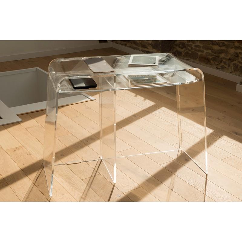 bureau d 39 appoint transparent et incolore plexi collection pure. Black Bedroom Furniture Sets. Home Design Ideas