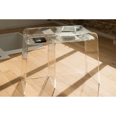 bureau transparent pour gaucher en plexiglas incolore. Black Bedroom Furniture Sets. Home Design Ideas