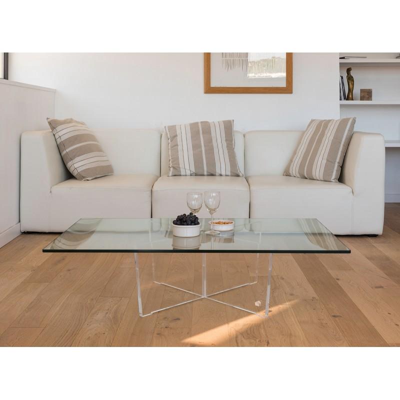 Table basse transparente cristal rectangle for Table de nuit transparente