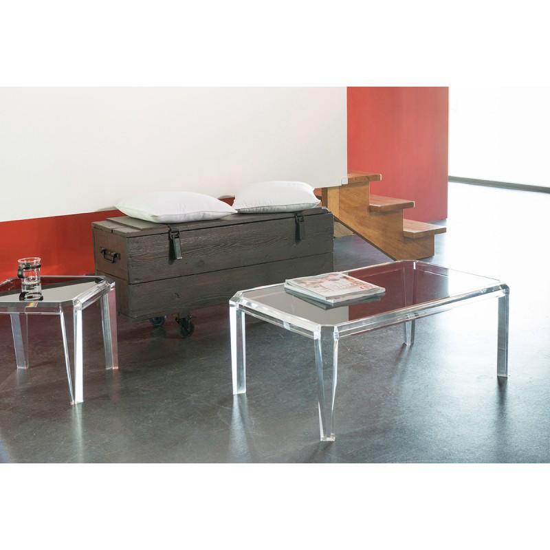 Table basse transparente rectangle gemma for Table de nuit transparente