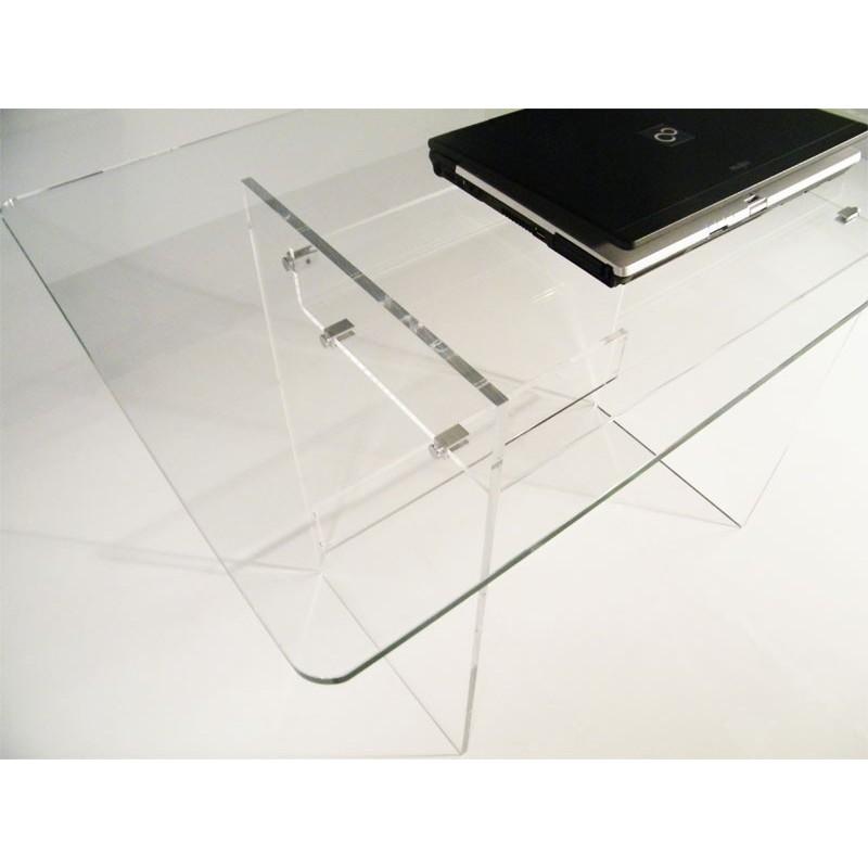 Bureau en plexiglas et verre piccolo for Meuble informatique en verre