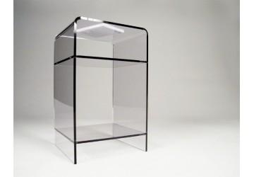 Tables de chevet transparentes en plexiglas ou altuglas meubles plexiglas design david lange - Meubles en plexiglas ...