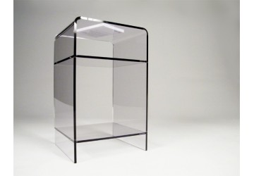 tables de chevet transparentes en plexiglas ou altuglas. Black Bedroom Furniture Sets. Home Design Ideas