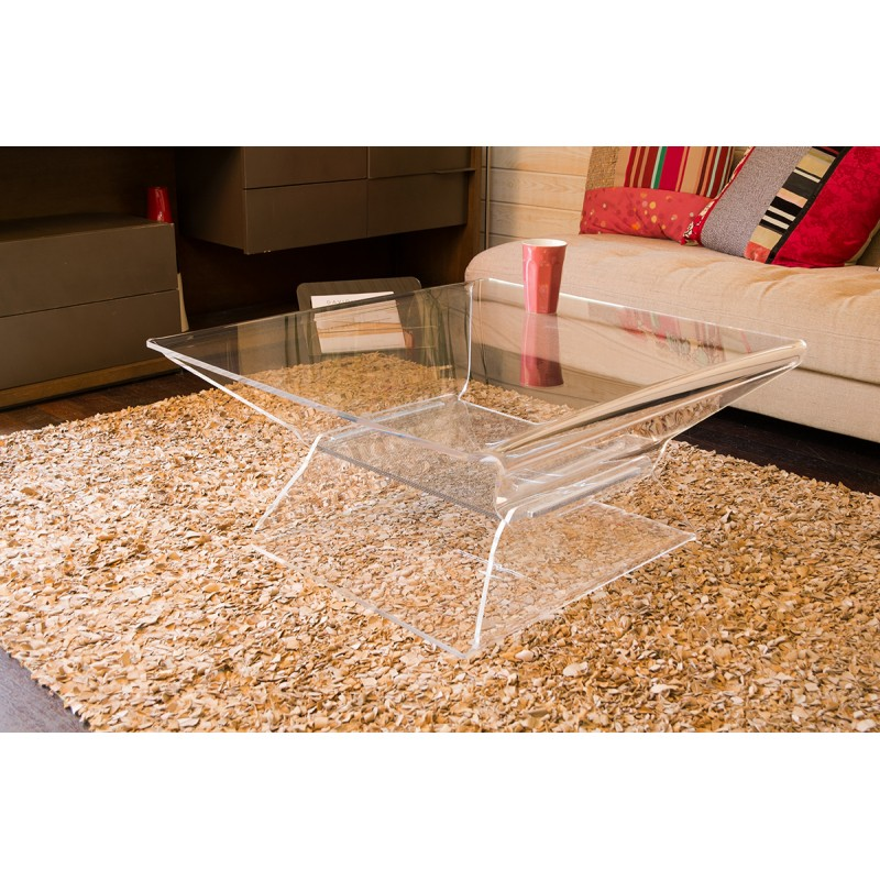 table basse carr e transparente design barnab ribay. Black Bedroom Furniture Sets. Home Design Ideas