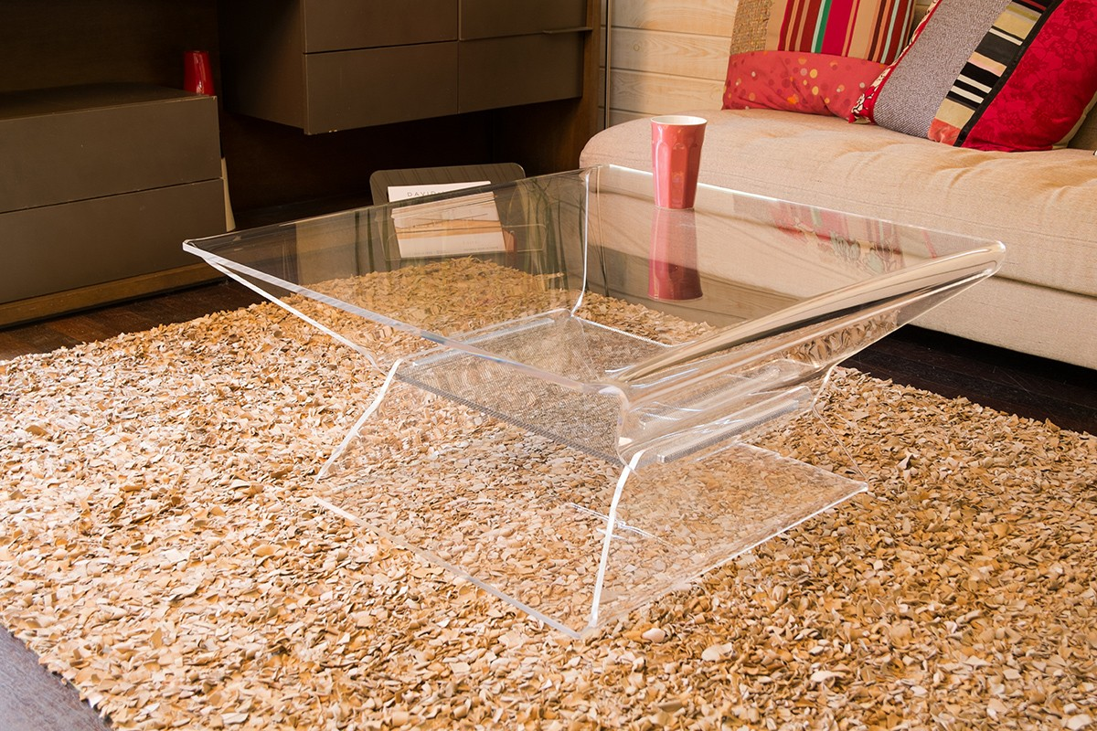 Table Basse Carr E Transparente Design Barnab Ribay Meubles  # Table Basse Transparente