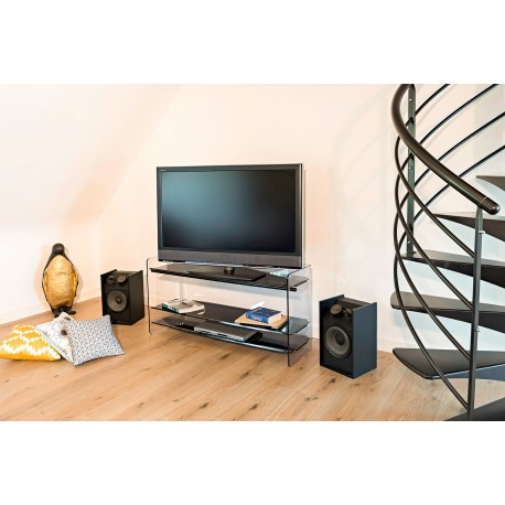 Meuble tv hifi design Tempo en Glass Look gris Pmma par les
