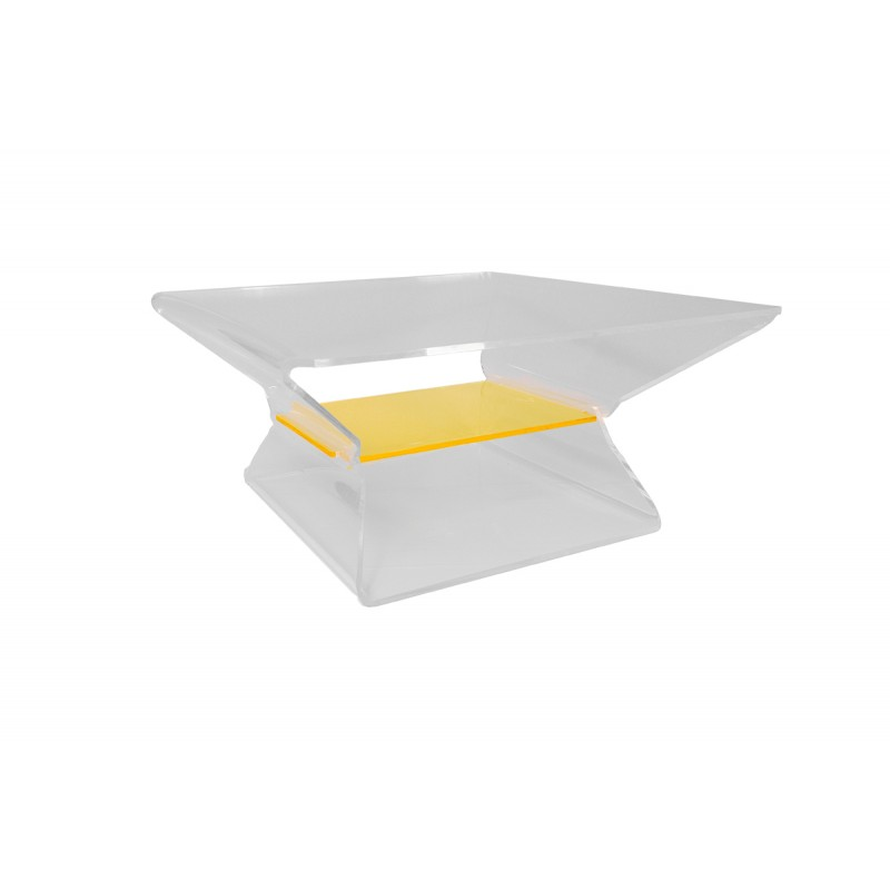 Table basse carr e transparente design barnab ribay for Table basse transparente