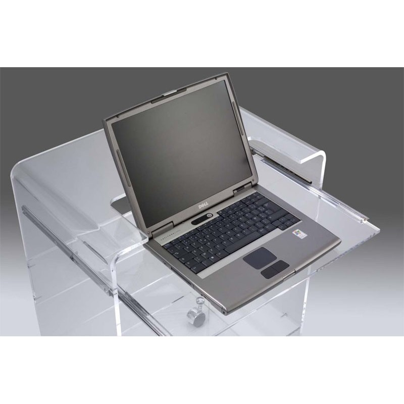 Meuble plexiglas transparent pc ioda bugg for Bureau meuble pc