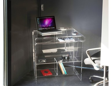 Meubles transparents de bureau design et fonctionnel plexi et verre david lange for Petit meuble informatique design
