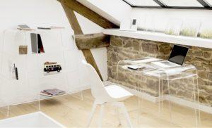 Décoration pièce meubles transparents